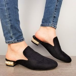 Shoes - Suede Slip On Loafer Mule Pearl Accents on Heel -B